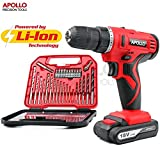 Apollo 18V Pro Cordless Combo Electric Power Drill Driver 1500mAh Slimline Lithium-Ion Battery, Selectable Dual 2 Speed Gears, 19 Position Keyless Chuck, Variable Speed Trigger Switch with 30 Piece Drill & Screwdriver Bit Accessory Set in Compact Storage Case