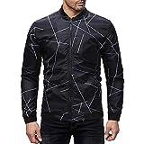 Janly Mens Winter Herbst Printed Zipper Pullover Langarm Sweatshirt Tops Bluse Herren Print Langarm-Pullover Jacke Top (3XL, Schwarz)