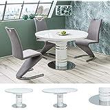 MHF Stratos Table extensible ronde Blanc brillant 120-160 x 120 cm