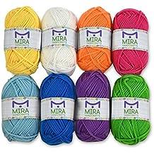 8hilo acrílico multicolor Bonbons–11Regalos incluye con cada paquete–Bolsa con cierre–Total de 525M hilo Premium Pack–lana hobby Crafts Kit para punto y ganchillo