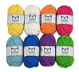 Pack pelotes de laine premium - 8x30g pelotes de laine en acrylique aux couleurs de l'arc-en-ciel – 60 mètres de longueur par pelote – Idéales pour les petits projets d'enfants, la création, le tricot, le crochet et bien plus encore – Cadeaux gratuits: 2 crochets, 2 aiguilles à tricoter – Fournitures haute qualité avec MiraHandcrafts