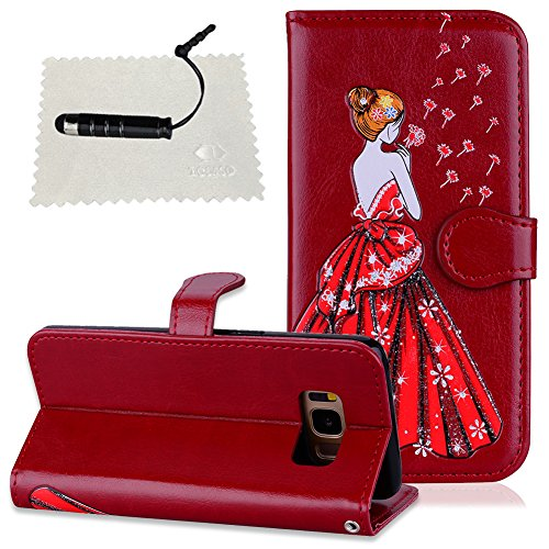 Samsung S8 Plus Hülle, Samsung Galaxy S8 Plus Leder Tasche TOCASO Samsung Galaxy S8 Plus Rot Schutzhülle Handyhülle Glitzer tasche Wallet Case Hülle Glitzer Hülle für Samsung Galaxy S8 Plus * -Rot