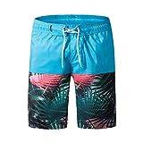 Xmiral Herren Badeshorts Boardshorts Badehose Schwimmhose Männer Beach Print Beachshorts(6XL,Hellblau)