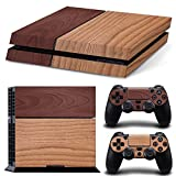 Stillshine Decal Full Body Wood Faceplates Skin Sticker For Sony Playstation 4 PS4 console x 1 and controller x 2 (grey brown)