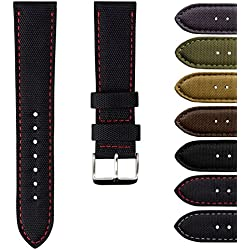 Geckota® Nylon Canvas Fabric Padded Durable Sport Watch Strap 20mm or 22mm