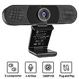 USB Webcam 1080P - C980Pro FULL HD Webcam Streaming Kamera mit 2 Lautsprecher 4 Mikrofone, Konferenz Video, Webcam zum Anrufen, PC Kamera, Plug & Play, Windows 7, 8, 10, Mac OS X, Youtube, Skype usw