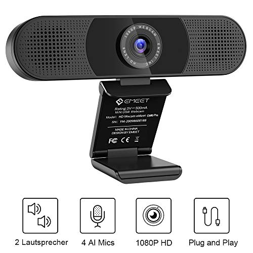 eMeet Webcam 1080P - C980 Pro Full HD Webcam mit 2 Lautsprecher 4 Mikrofone, Konferenz Video, USB Webcam zum Anrufen, PC Kamera, Plug & Play, Windows 7, 8, 10, Mac OS X, YouTube, Skype usw