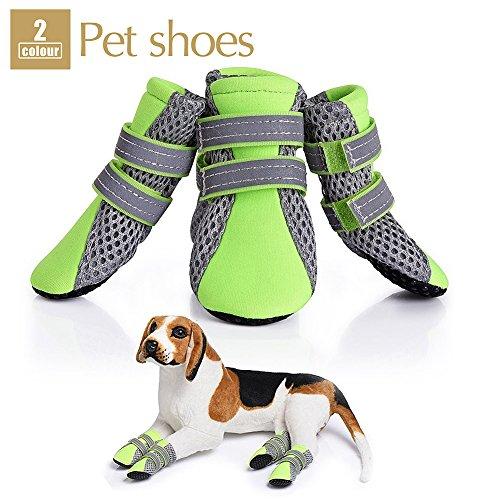 Puppy Dog Boots, weiche Sohle Nonslip Schuhe 4Pet atmungsaktives Mesh Schuhe Hunde Pfoten Displayschutzfolie mit sicheren Reflektierende lässt und rutschfeste Sohle für kleine Hunde