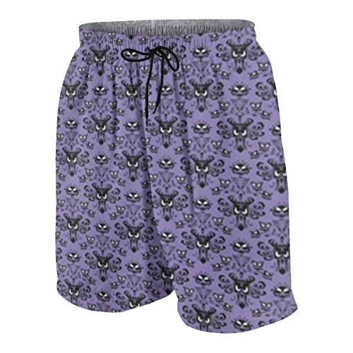 Feng Huang Haunted Mansion Teenager Boys Lustige Badehose Quick Dry Beachwear Shorts wasserdichte Badebekleidung Badeanzüge Weiß XL (Haunted Mansion Stoff)