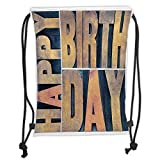 Fevthmii Drawstring Backpacks Bags,Birthday Decorations,Letterpress Wood Type Printing Blocks Rectangles Typography,Light Brown Dark Blue Soft Satin,5 Liter Capacity,Adjustable String Closu