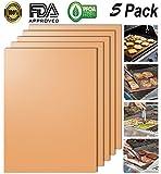 BBQ Grill Mats Ensemble de 5, KOLARK FDA-approuvé 100% anti-adhésif BBQ Grill & Baking Mats-Works on Gas Charcoal, Grill électrique et plus - 15.75 x 13 pouces (Cuivre)