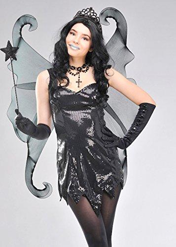 Schwarze Gothic Glitter Fantasy - Dark Fairy Fancy Dress Kostüm