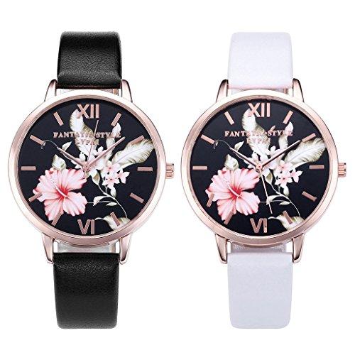 JSDDE Uhren,Vintage Klassische Blumen Damen Armbanduhr Basel-Stil Quarzuhr PU Lederband Rosegold Analog Quarzuhr(Schwarz) - 6