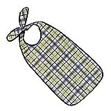 PFLEGE-POINT Kleidungsschutz/Ess-Schürze für Erwachsene mit Steckverschluss, wasserdicht (blau-beige)
