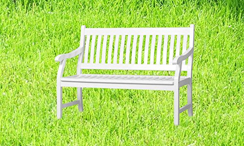 Sedex New Jersey Gartenbank Balkonbank Sitzbank 2-Sitzer Eukalyptus weiß