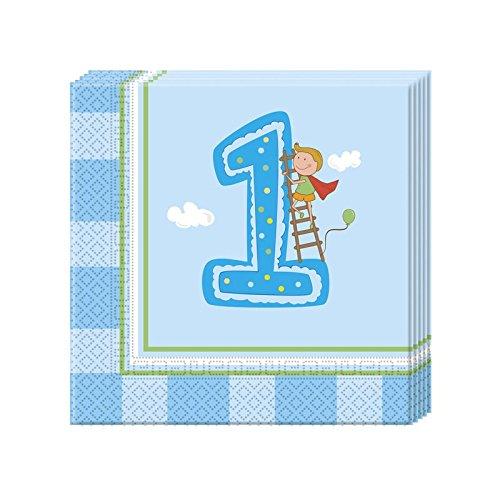 Procos Erster Geburtstag Jungen 2-lagige Papierservietten 33x33cm