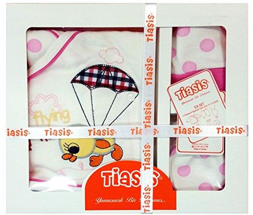 5-teilig Erstlingsausstattung rosa weiß Geschenkset Erstausstattung Ente für Mädchen Baby Set