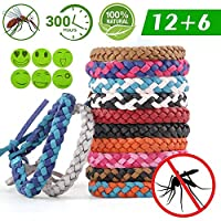 Acehome 12 Pack Mosquito Repellent Bracelet Mosquito Bands, 6 Pack Mosquito Repellent Patches, DEET-Free Natural Wristbands, Adjustable length Insect Repellent Band for Adults, Kids & Babies