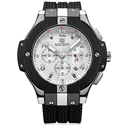 Armbanduhr Megir Herren Uhren Luxus mit Militär Schwarz Silikonarmband Groß Weiß Chronograph Kalender Wasserdicht XL -