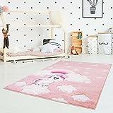 Kinderteppich Hochwertig mit Einhorn, Sterne, Regenbogen in Rosa mit Konturenschnitt, Glanzgarn für Kinderzimmer Größe 80/150 cm