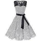 iYmitz Frauen ärmellose Prinzessin Polka Punkt Spitze Hepburn Damen Retro Swing hohe FaltenrockTaille Plissee Kleid Strickkleid(Weiß,EU-42/CN-XL)
