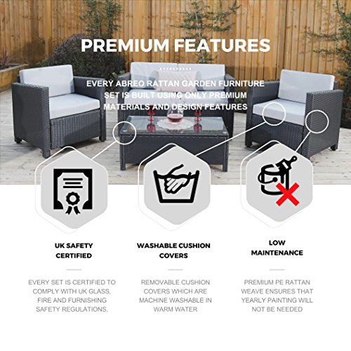 New ROMA Rattan Wicker Weave Garden Furniture Patio Conservatory Sofa Set INCLUDES OUTDOOR PROTECTIVE COVER (Black)