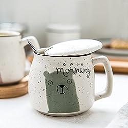 LOYWT Taza de cerámica taza con tapa y cuchara preciosa copa, Copa de leche, la taza de café de la Oficina,Oso verde