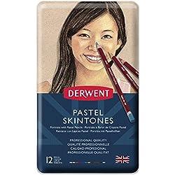 Derwent Pastel - Lápices pastel (12 unidades, para retratos, en estuche de metal), color carne