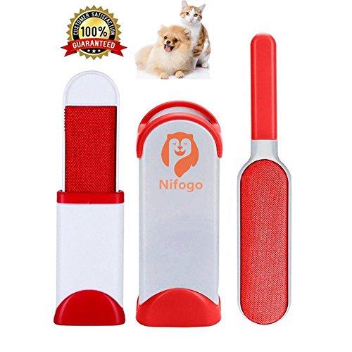 Pet Fur & Lint Remover Spazzola per Animali - Hair Brush Togli Peli Double Face Riutilizzabili per Cane Gatto (Rosso)