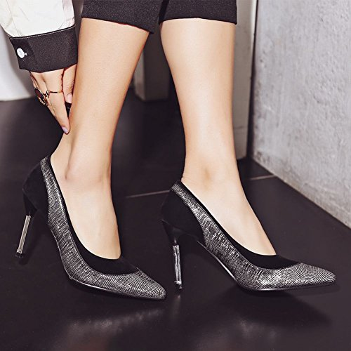 Mee Shoes Damen mehrfarbig Stiletto Geschlossen Pumps Silber