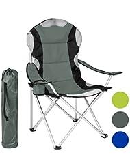 TecTake Chaise de Camping Fauteuil Pliable avec Porte-boisson et Sac de Transport - Rembourrage en Mousse -diverses couleurs et tailles au choix-