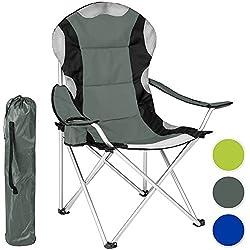TecTake Chaise de Camping Fauteuil Pliable Porte-boisson Sac de Transport - Rembourrage en Mousse (Gris) Ø Cadre: environ 20 mm