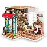 T Tocas ROBOTIME Puppenhäuser DIY Kit Miniatur mit Licht Bauen Spielzeug aus Holz Geschenke für Erwachsene Kinder Teens (Simon's Kaffee)