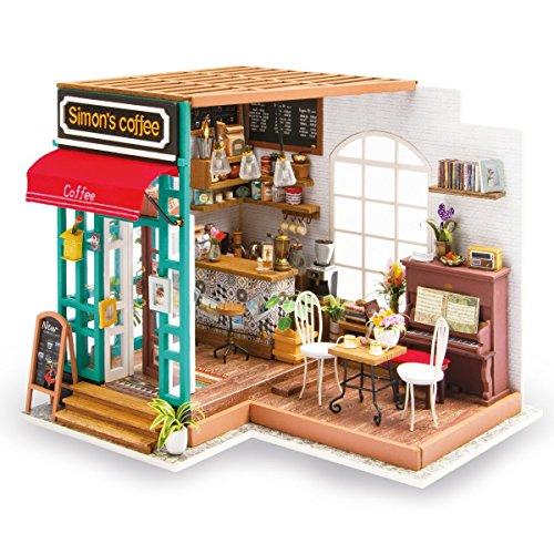 T Tocas ROBOTIME Maisons de Poupées DIY Kit Miniature avec Lumière Construire Jouet en Bois Cadeaux pour Adultes Enfants Ados (Simon's Coffee)