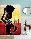 A.Monamour Traditionelle Afrikanische Frauen Mädchen In Der Wüste Silhouette Bild Drucken Polyester Stoff Wasserdichte Duschvorhang 180X200 CM / 72