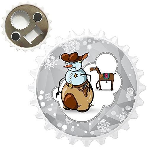 Fancy A Snuggle Schneemann Cowboy Sheriff-Dienstmarke Kühlschrankmagnet mit Flaschenöffner