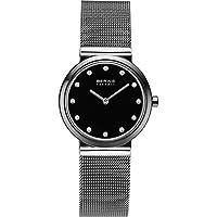 Bering Ceramic - Reloj analógico de mujer de cuarzo con correa de acero inoxidable negra - sumergible a 50 metros de BERING