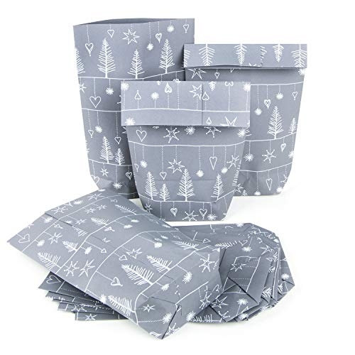 Bolsa de papel gris plata blanco 14x 22x 5,5cm del paquete navideño...