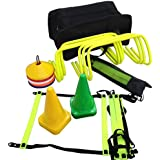 CW Football Pro Sports Soccer Speed Agility Training Kit Set Including (6 Hurdles+Agility Ladder With Its Full Cover +Set Ground Marker Cones+ Set Of Disc Saucer Marker Cones + Black Kit Bag )
