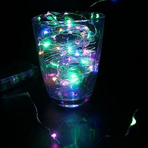 dvmruib 5m/16.5ft 50LEDs Colorful LED Ultra Dünn AA batteriebetrieben silber Draht Lichterkette