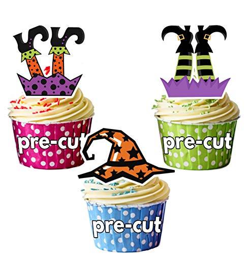 Vorgeschnittene Halloween Hexen Hüte Beine - Essbare Cupcake Topper / Kuchendekorationen (36 Stück)