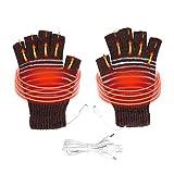 Semme USB-beheizte Handschuhe, Winter-Heizungs-Handschuhe für Männer und Frauen USB-angetriebene Waschbare halbe Finger warme Mitten für Radfahren Motorrad Wandern Skifahren und Bergsteigen (Kaffee)
