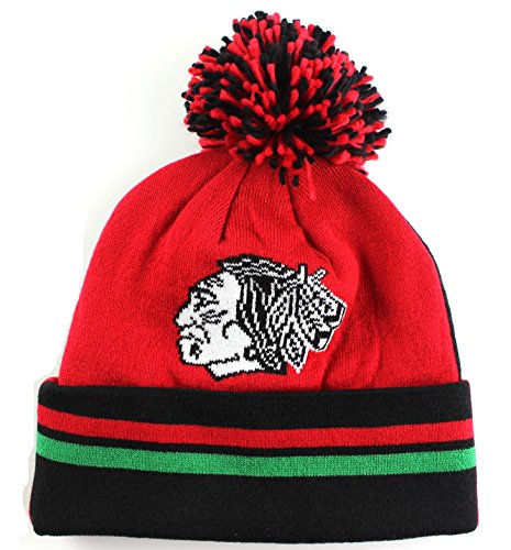 Chicago Blackhawks Mitchell & Ness NHL bis 2Vor Cuffed Knit mit Pom Hat