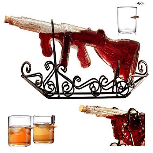 Set de vasos grandes de decantador Gun, 750 ml de jarra de whisky de vidrio 100% sin plomo con 4 vasos y base acero tallado Base para vaso de vino ron con vodka - Regalos para celebraciones seguras-B