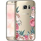 OOH!COLOR Handyhülle kompatibel mit Samsung Galaxy S7 Silikon durchsichtig Hülle Samsung Galaxy S7 G930 Case dünn Tasche transparent Soft TPU Etui Flexibel Bumper mit Motiv Pfingstrosen