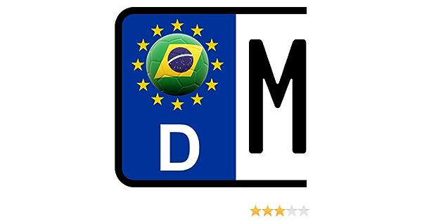 3 X Kennzeichen Aufkleber Ball Brasilien Flagge Kfz Motorrad Fanshirts4u Auto