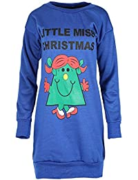 Be Jealous Womens Ladies Xmas Snowman HO HO HO Print Full Sleeves Long Sweatshirt Dress