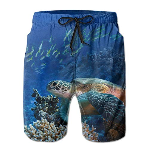 Cherokee Kordelzug Uniform (khgkhgfkgfk Mens Giant Sea Turtles gedruckt lustige Badehose Quick Dry Beachwear Sport Running Swim Board Shorts)