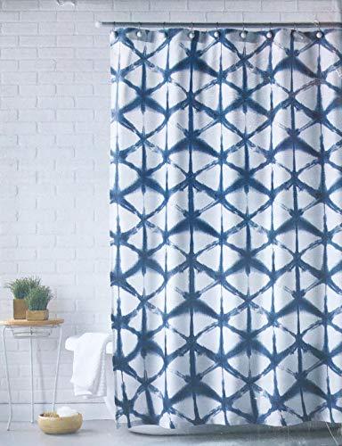 Mind on Design Stoff Duschvorhang Geometrisches Gitter Geo Muster in Blau auf Weiß -