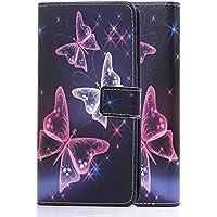 tinxi® Kunstleder Tasche für Wiko Pulp Fab 4G (5,5 zoll) Tasche Schutz Hülle Schale Etui Case Cover Standfunktion mit Karten bunte Schmetterling
